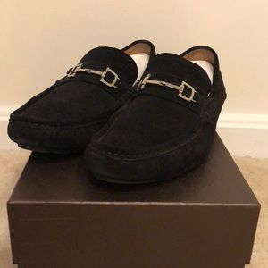 AUTHENTIC Men's Gucci Black Suede Loafers Drivers